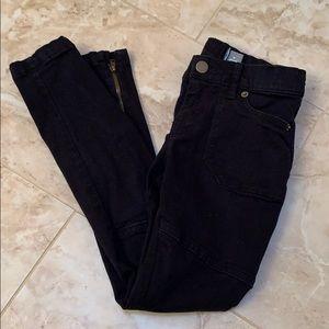 Black Denim Moto Jeans